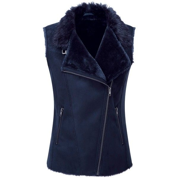 Pure Collection Mallory Faux Shearling Gilet, Navy (€155) ❤ liked on Polyvore featuring outerwear, vests, navy vest, navy blue vest, navy waistcoat, faux shearling vest and sleeveless vest
