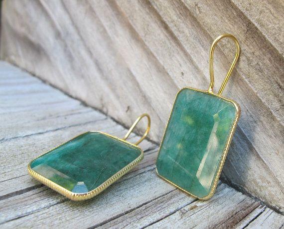 Square Emerald Earrings Green Emerald Earring Gemstone by Belesas