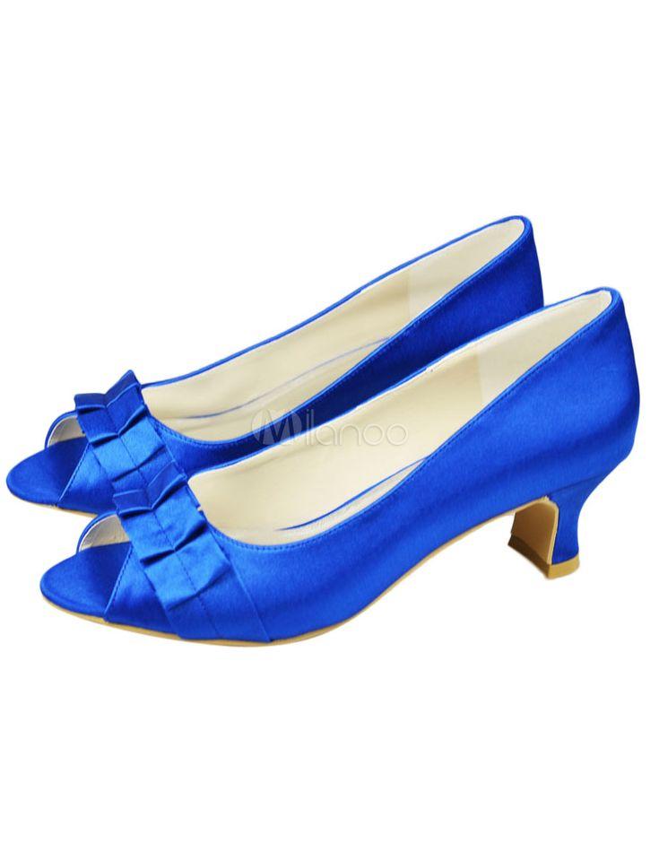 Chaussure de mariée plissée à peep-toe en satin bleu à talons épais - Milanoo.com