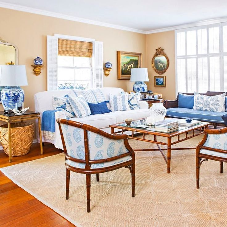 living room in blue%0A Blue and white is a timeless cottage color combo   teryldesigns charming living  room is