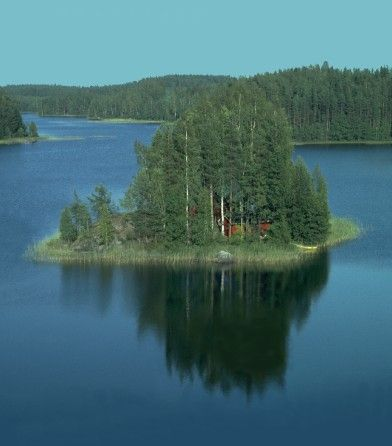 """A private island with a summer cottage (""mökki"") in Finnish Lakeland, Finland"" -- [Photograph by Plenz - September 2 2005]'h4d'121224"