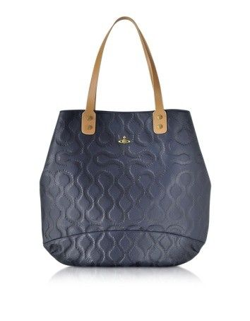 SQUIGGLE DARK BLUE LEATHER TOTE VIVIENNE WESTWOOD