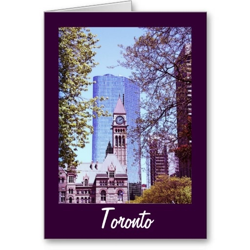 Toronto old city hall clock tower greeting cards
