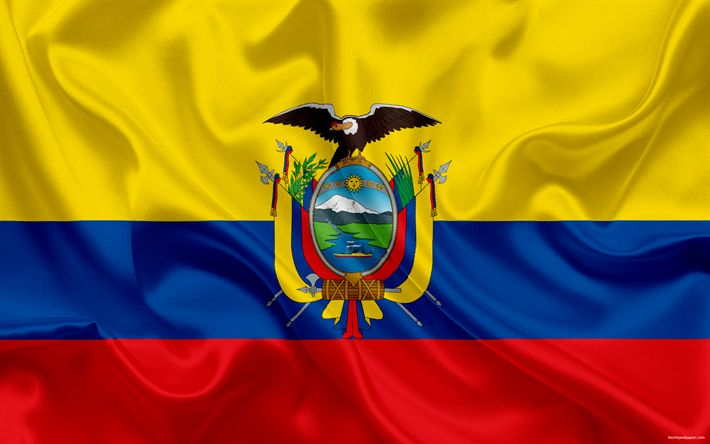 Download wallpapers Ecuadorian flag, Ecuador, South America, flag of Ecuador, national flag, silk