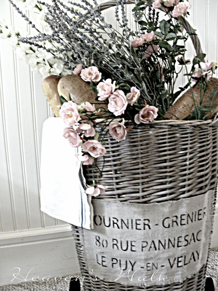 Transform an ordinary basket into a French Market basket. Great DIY!