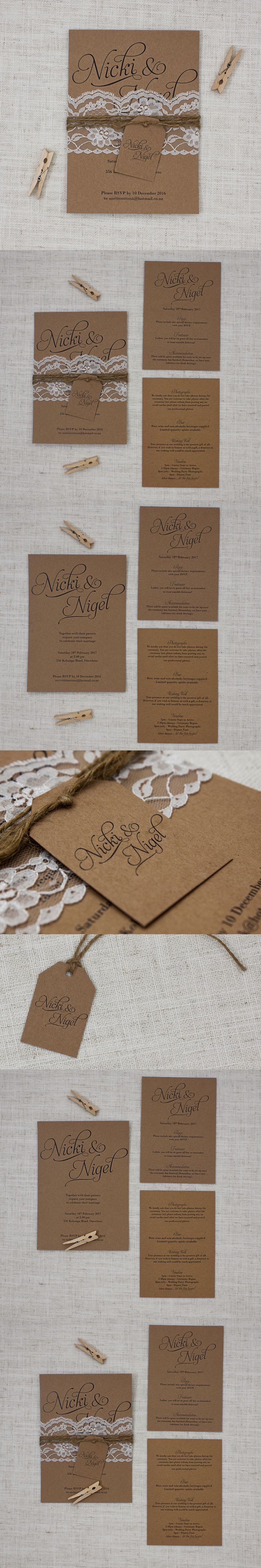 Simple Script Rustic Lace & Twine Wedding Invite - Be My Guest http://bemyguest.co.nz/archives/item/rustic-lace-twine-wedding-invite/