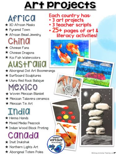 Art Around the World has EASY lessons for busy teachers. I am also a teacher and expected to cover all curriculum areas, but that doesn't mean we don't have time for art. The secret: integration! I've created. These fun lessons have teacher scripts to read aloud about each country and customs, step-by-step photo instructions, and a simple supply list.