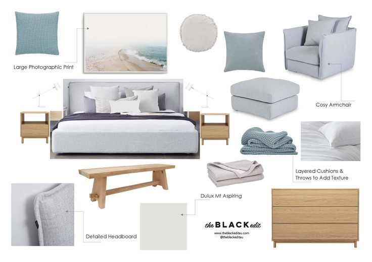 calming master bedroom moodboard, white, light grey, seafoam, sheridan haden cushions and throws, hk living bench, olive et oriel morning walk print, grey linen bed, grey linen armchair and ottoman