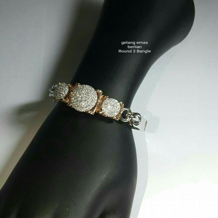 Gelang Emas Berlian Round 3 Bangle💍.   🏪Toko Perhiasan Emas Berlian-Ammad 📲+6282113309088/5C50359F Cp.Antrika👩. https://m.facebook.com/home.php #investasi#diomond#gold#beauty#fashion#elegant#musthave#tokoperhiasanemasberlian