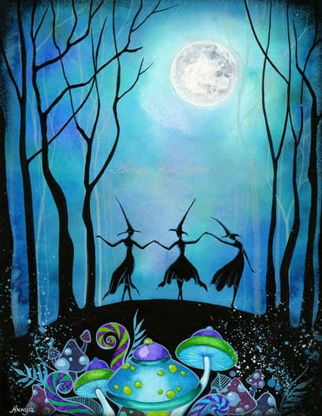 Witches Dancing Under the Moon - Halloween Haunted Mushroom Forest Woodland…