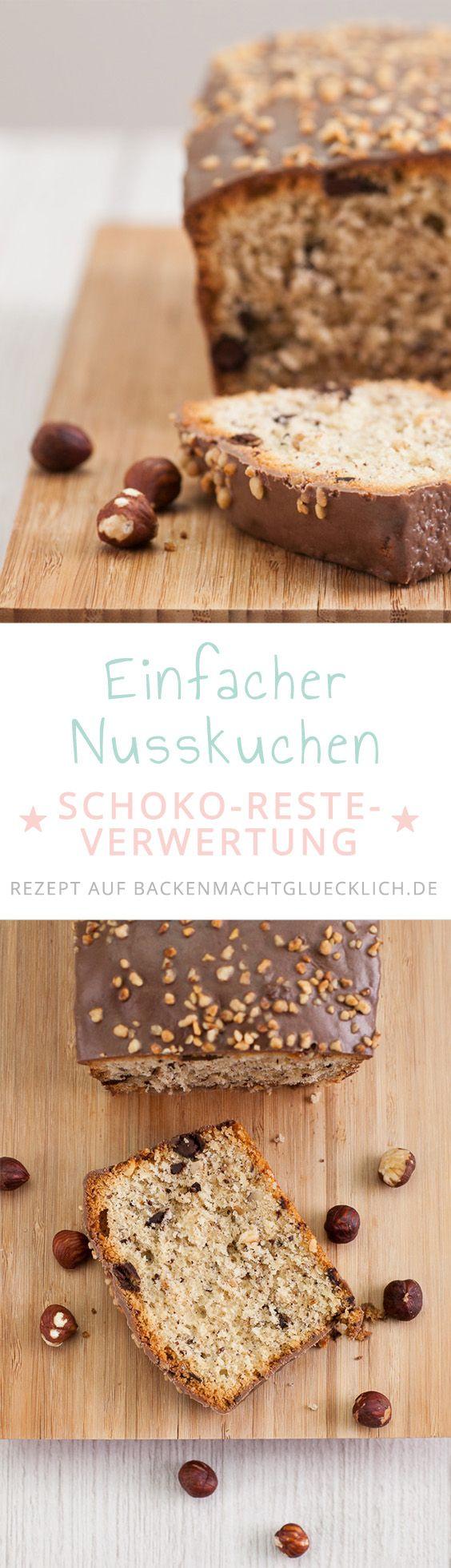 Einfaches Nusskuchen-Rezept, das super zur Restverwertung von Nüssen, Schokolade und Co dient. Der Schokonusskuchen ist saftig und kann mit gemahlenen oder gehackten Nüssen gebacken werden.