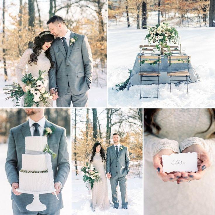 Snowy Winter Wedding Editorial in Dusky Blue & Neutrals