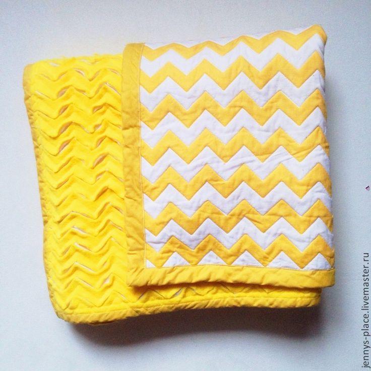 """Одеялко """"Желтый шеврон"""" - жёлтый,в полоску,одеяло,одеяло пэчворк,одеяло детское"""