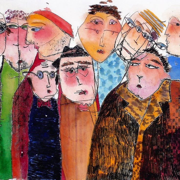 Big and Small Men a handcoloured monoprint by Kristiane Semar. Again on Japanese paper of course. #watercolour #monotype #kristianesemar #laugh #sowhat? #people #characters #drawing #munichart #affordableartfairhamburg #japanesepaper