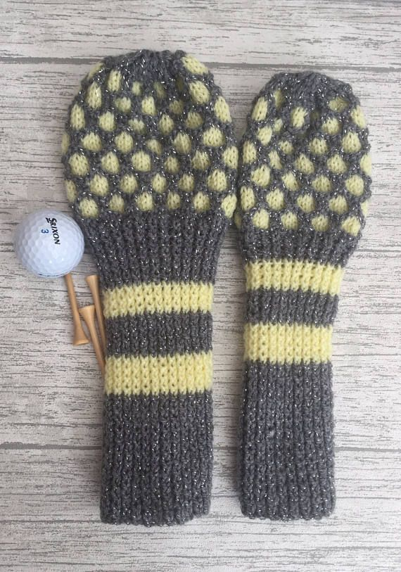 Gift for golfer, Golf head cover set, hand knitted, head covers, fairway woods, driver cover,