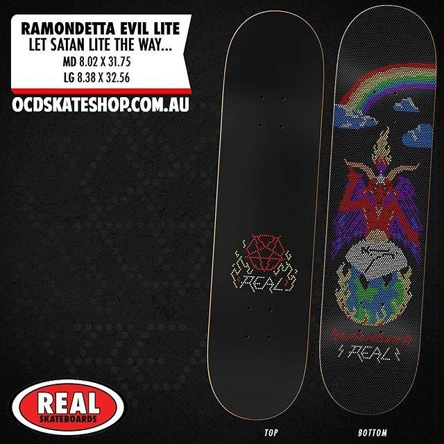 """Real skateboards Peter Ramondetta 'Evil Lite' Deck in 8.38"""" 😈 Available now!"""