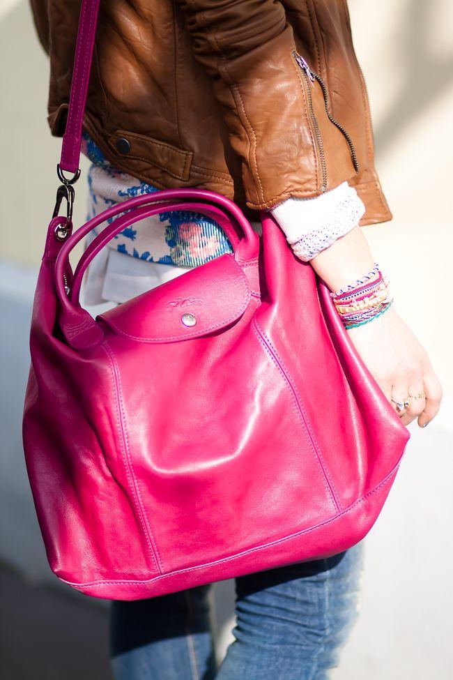leather bag LONGCHAMP medium in pink or black €375