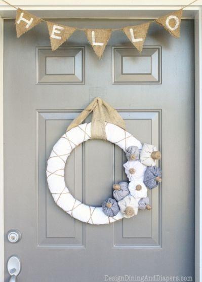 Neutral inspired fall door decor - love!  Bienvenue instead of hello
