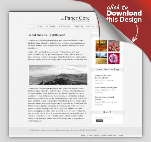 """The PaperCore - Elegant Wordpress Theme ajax contact form, business, clean, corporate, drop down menu, dynamic sidebar, elegant, jquery slider, multiple colors, personal, portfolio, product presentation, simple Check out the different 4 styles For the other 3 styles these are the HTML versions, but the style is the same as the WordPress version. The PaperCore Features and Details """"The PaperCore"""" is an unique, elegant and min..."""