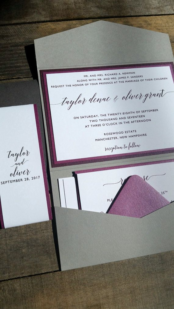 Gorgeous Purple, Plum and Grey wedding invitation suite featuring a mix of Purples/Plums and Grays, Light and Dark with custom text belly band