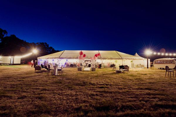 Marquee wedding late evening in country Victoria