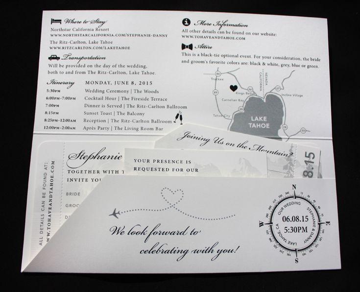 Lake Themed Wedding Invitations: Black & White Lake Tahoe & Mountain Themed Boarding Pass