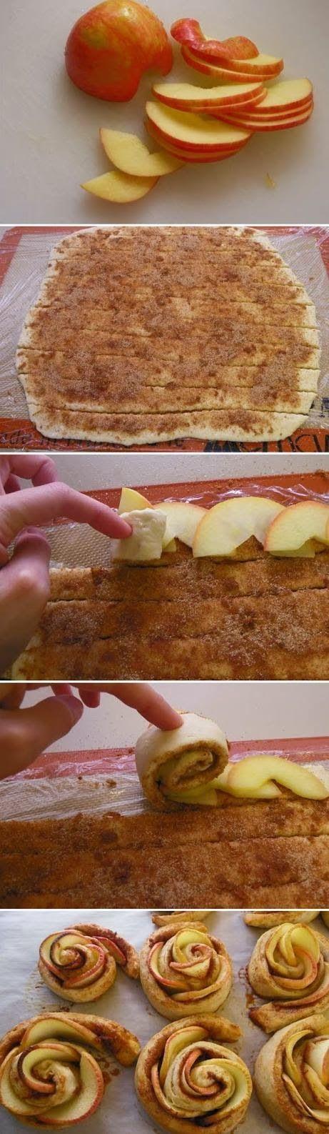 Apple Roses Roses  3 stredné jablká 4 PL cukru 2 PL citrónovej šťavy múka na posypanie lístkové cesto 5 PL cukru 2 ČL mletej škorice Voda s 4 PL cukru a citrón šťava k varu. Pridajte plátky jabĺk; varíme asi 3 min (ohýbať bez lámania).Cesto posypeme 5 PL cukru a škorice, plátky jabĺk, porezať, zrolovať, do mufin. košíka, piecť 20-25 min