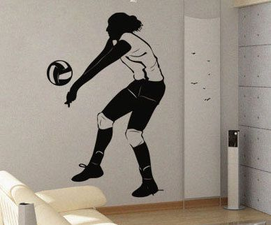 Best Volleyball Images On Pinterest Volleyball Pillow Cases - Vinyl volleyball wall decals
