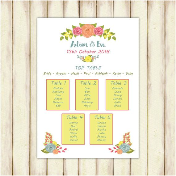 Floral wedding table plan MOUNTED table plan by PaperSpaceBoutique