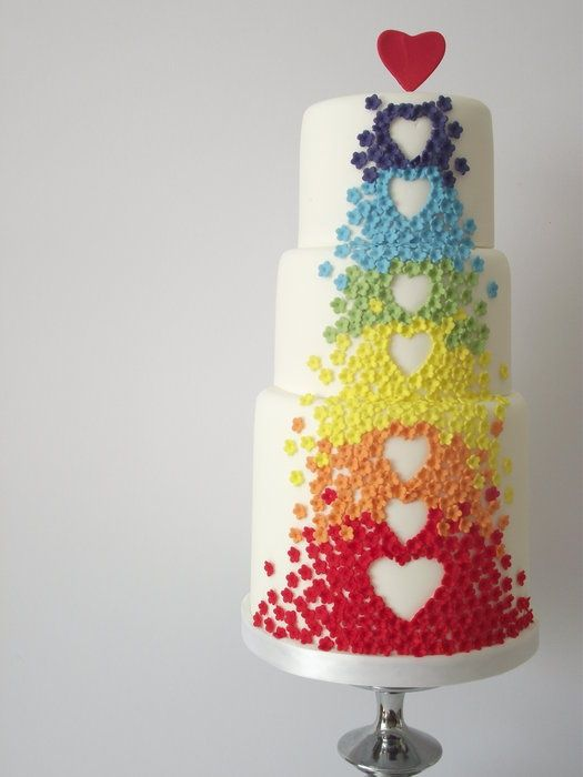 Non Girly, Colourful, Gender Neutral Birthday Cake | Rainbow and Heart Tiered Cake | White with Colour | Textured | For Non Girly T Shirts (ideal for birthday tees) and products visit http://www.girlmpower.com.au >>> Please Pin Now and Be Inspired Later <<<