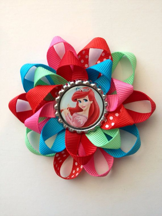 Little Mermaid hair bow. Bottle cap bow with Ariel by sweetlilbows