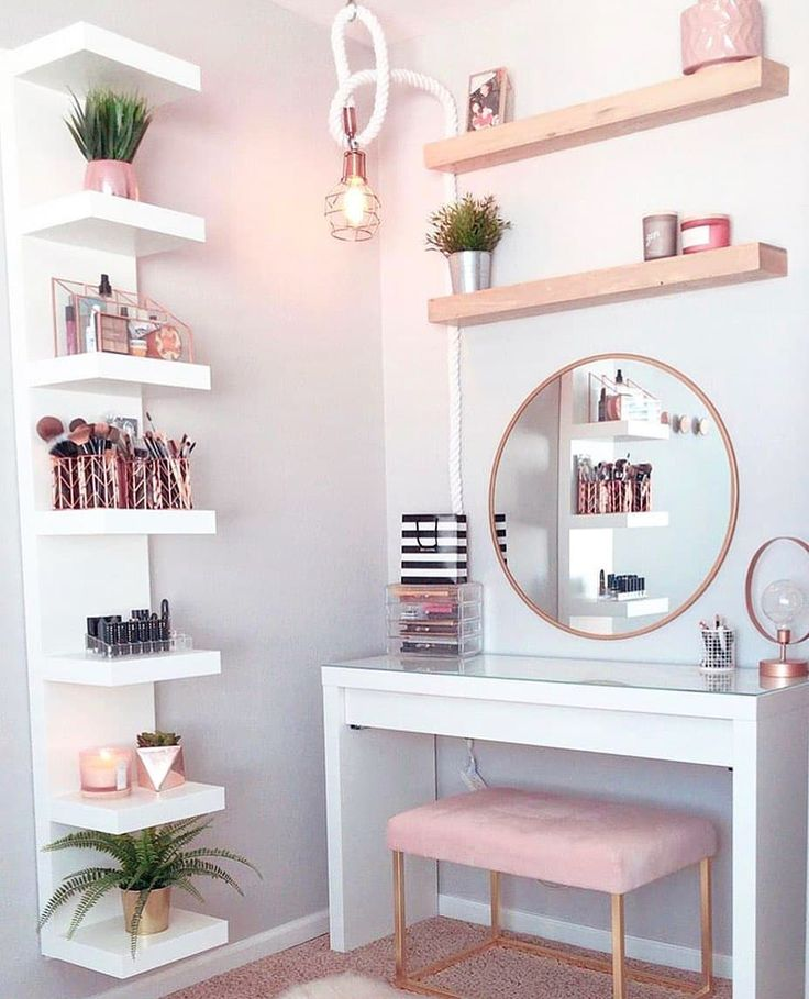 White vanity table, baby pink bench and rose gold …