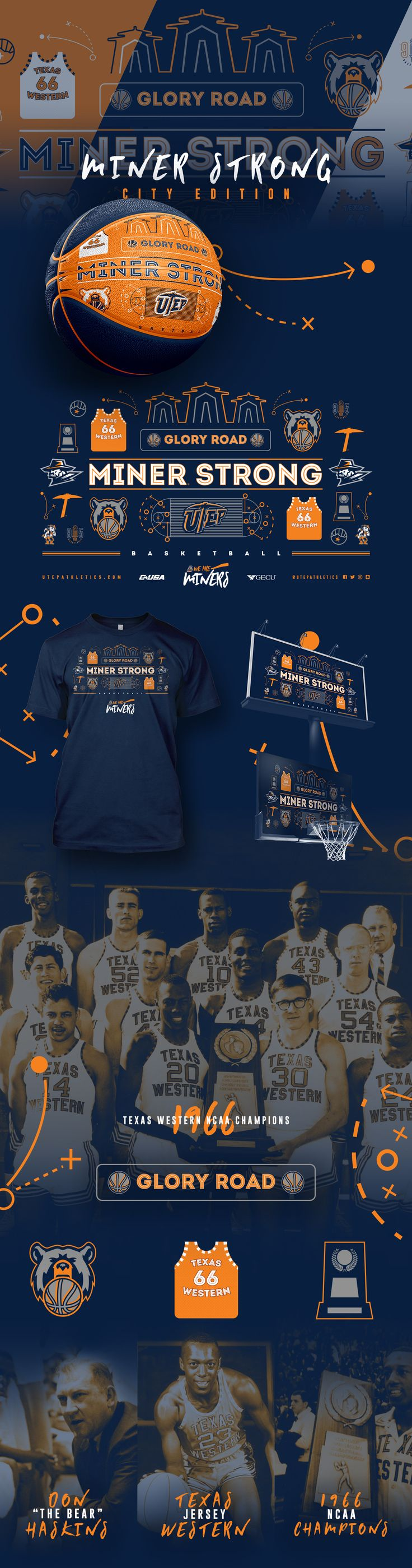 Branding concept for UTEP Basketball & Miner Strong Campaign.