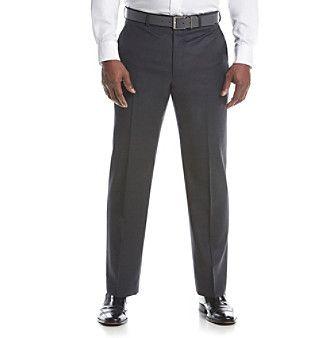 Lauren Ralph Lauren Men's Big & Tall Charcoal Solid Suit Separates Flat Front Pants