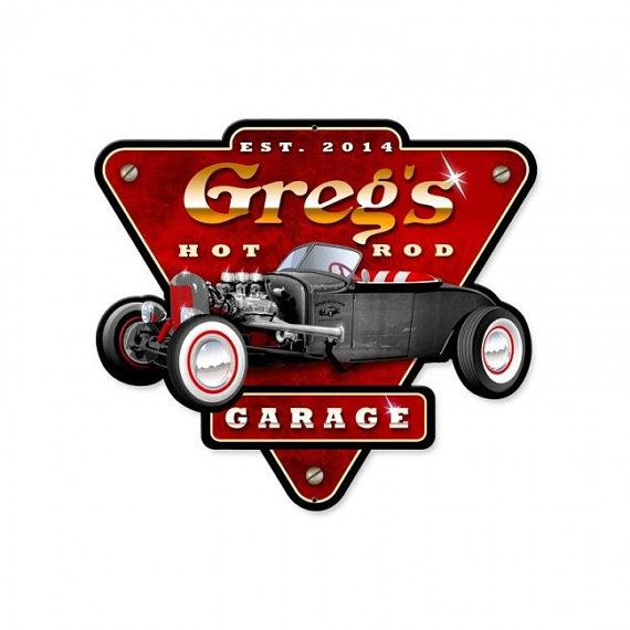 Personalized hot rod Garage  Vintage style by HeritagePrimitives