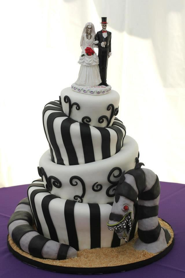 My daughter's wedding cake from her Beetlejuice-themed wedding.