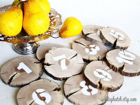 Wood Table Numbers painted on Tree Branch Slices by SundayHatch, $22.50