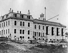 The B.C. Penitentiary being constructed circa 1877.
