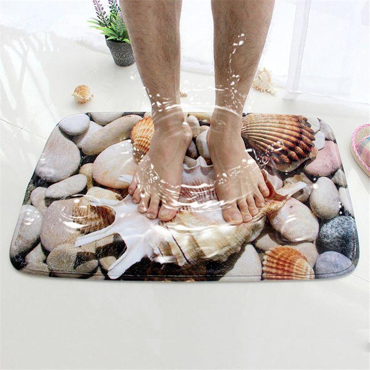 New ! Honlaker 3D Seashell Bath Mat Flannel Non Slip Doormat for Entrance Door #Honlaker #Mediterranean