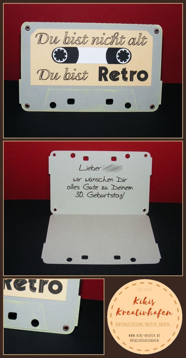 Bastelecke Geburtstagskarte 60 30 Retro Kassette