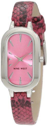 Nine West Women's NW/1233PKPK Oval Silver-Tone Organge Snake Skin Strap Watch Nine West. $49.00. Silver-tone oval case. Pink colored dial with nickel applied hour markers. Silver-tone hour, minute and second hands. Black and pink smooth snake skin pattern strap. Stainless steel buckle closure. Save 17%!
