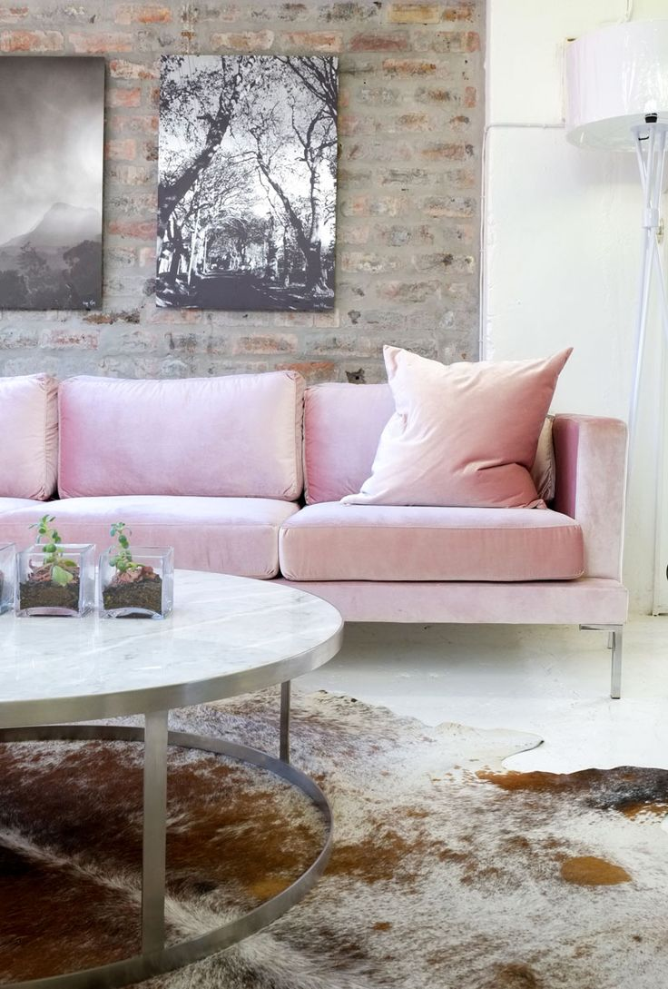 Our Victoria Sofa looking ladylike in a soft pink velvet