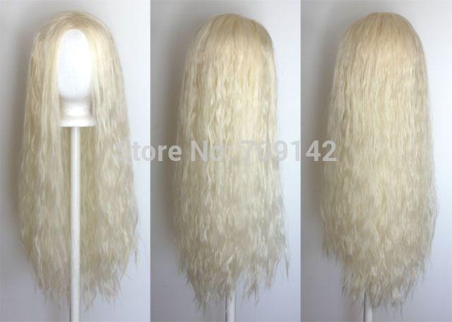 """Goedkope 32"""" gegolfde golvend lang platina blonde pruik, geen pony synthetische vezels koningin cosplay daenerys gemaakt braziliaanse haar pruiken, koop Kwaliteit cosplay pruiken rechtstreeks van Leveranciers van China: Onthaal aan groothandel en daling van de scheepvaart!Specificaties:Materiaal: geïmporteerd fibrilLengte: ongeveer 25"""" st"""