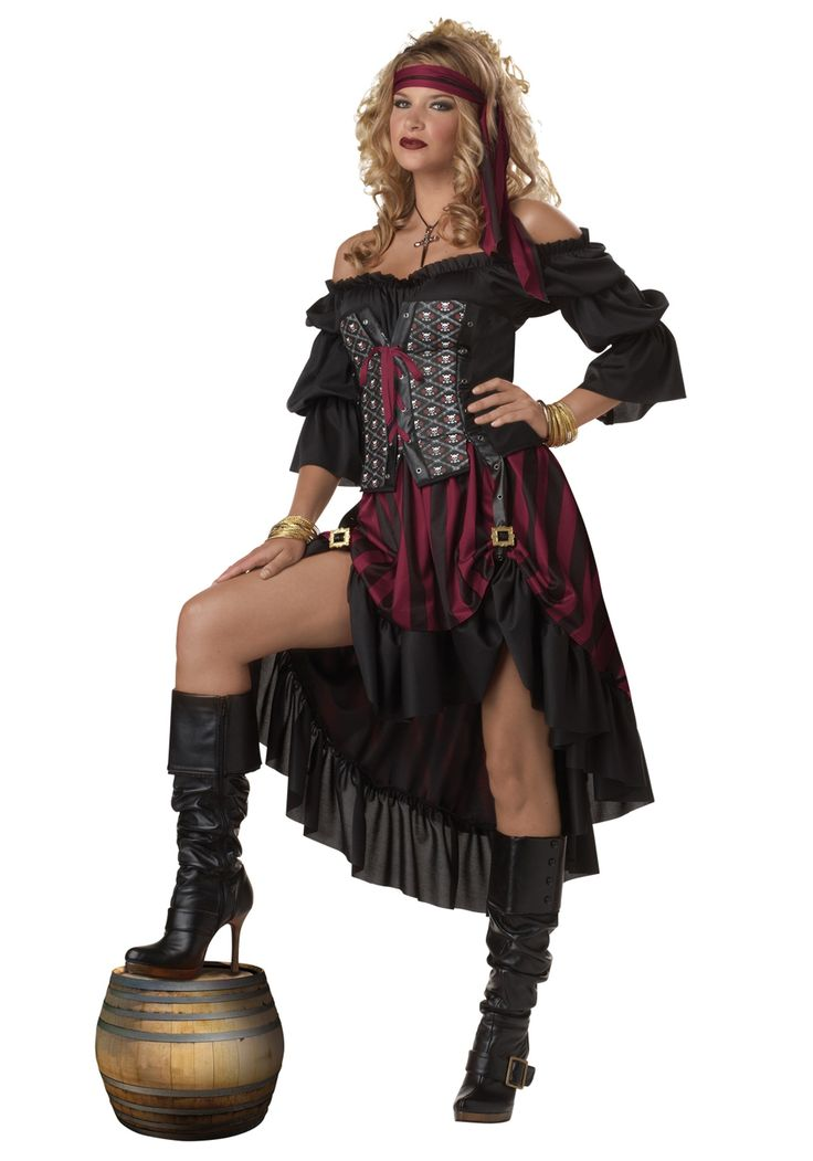 Pass her the bottle of rum, this pirate wench isn't your typical lady. This Pirate Wench Costume is a secy pirate costume idea for the ladies.