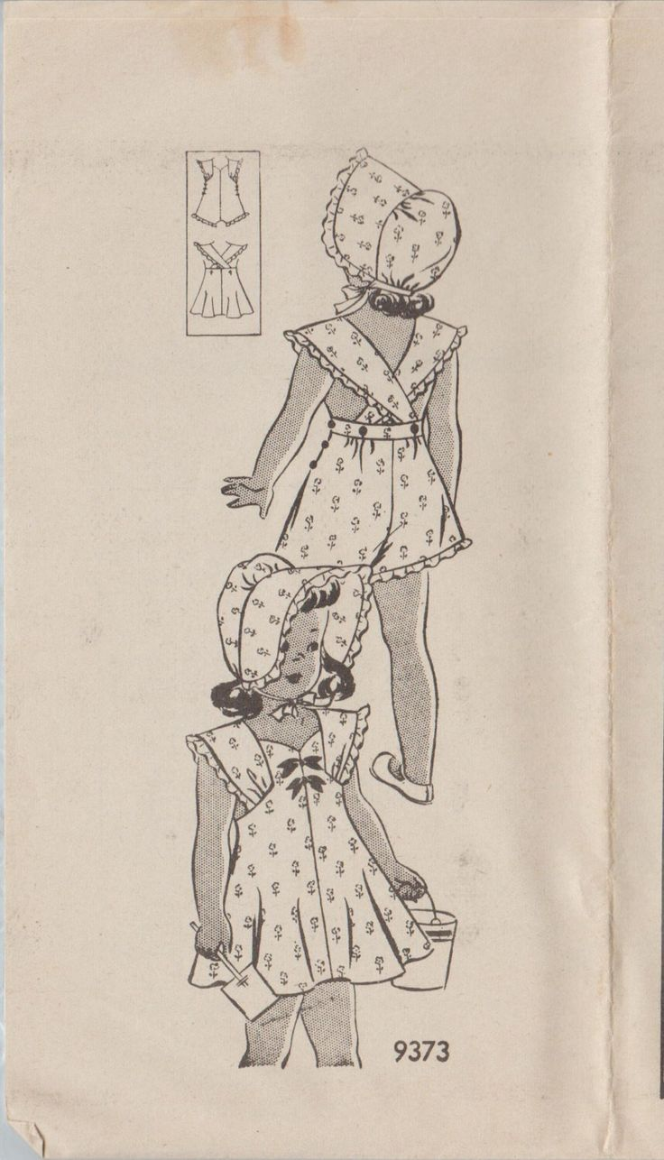 Vintage 1940s Mail Order Sewing Pattern 9373 / Childs Playsuit And Bonnet / Romper Dress Sundress / Little Girl Size 2 di studioGpatterns su Etsy https://www.etsy.com/it/listing/400220677/vintage-1940s-mail-order-sewing-pattern