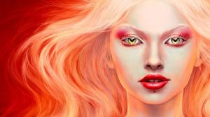 Preview wallpaper girl, blonde, lips, make-up, person, hair 1366x768