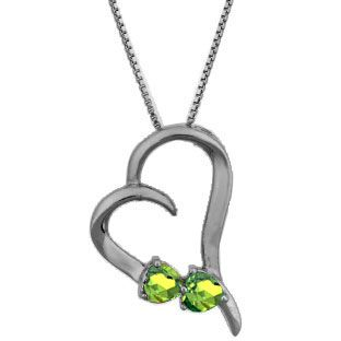 Two Stone Peridot August Birthstone Heart Pendant Black Rhodium White Gold Gemologica.com offers a unique simple selection of #handmade #fashion #fine #jewelry for #men #women #children to make a statement. We offer #earrings #bracelets #necklaces #pendants #rings with #gemstones #diamonds #birthstones available in Sterling #Silver 10K 14K 18K #yellow #rose #white #gold #titanium silver #metal. Shop Gemologica jewellery now for cool cute design ideas Gemologica Customer Reviews