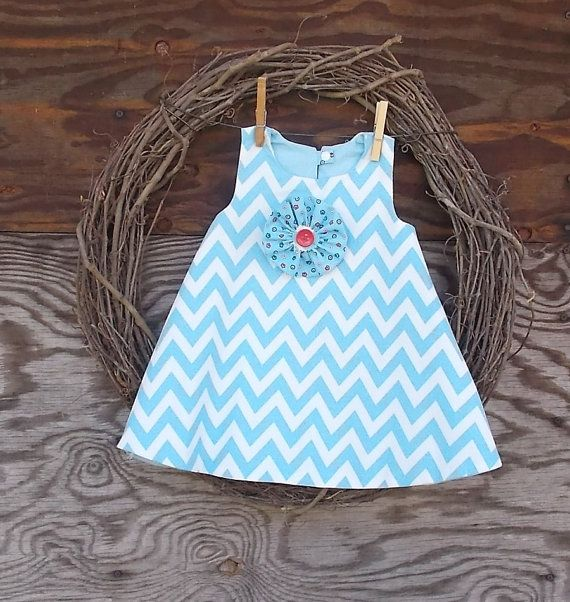 Baby Girls Dress Blue chevron Dress Dress with by SouthernSister2