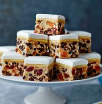 "Makes 28Mary Berry says: ""This recipe was thought up by Lucy, my assistant. Quick to prepare and easy to share – make in a traybake, cut into squares and it is perfect for a small tea or as a canapé. ..."