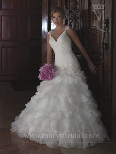13 best images about ruffle and pleated wedding gowns on for Wedding dresses with pearls and diamonds